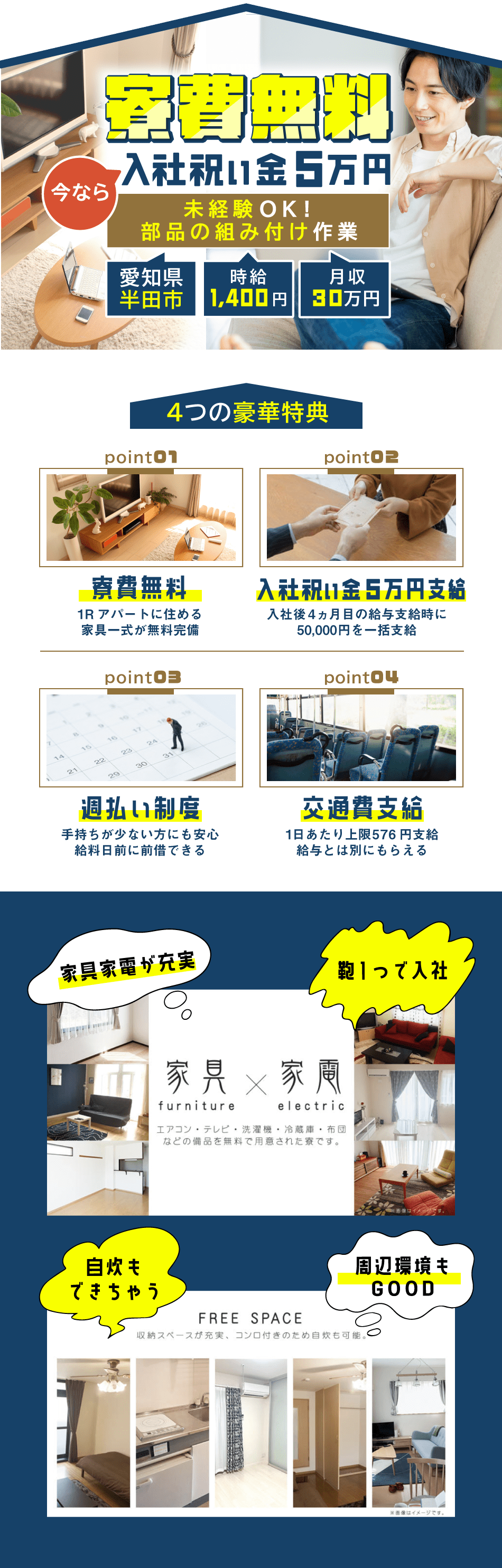寮費無料 入社祝い金5万円
