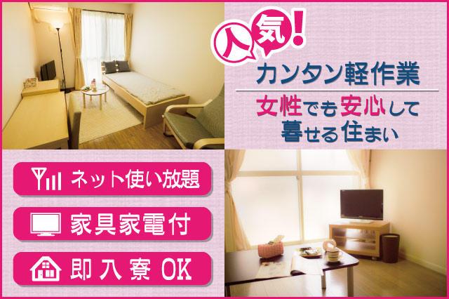人気カンタン軽作業。ネット使い放題・家具家電付・即入寮Okで女性でも安心して暮せる住まい。