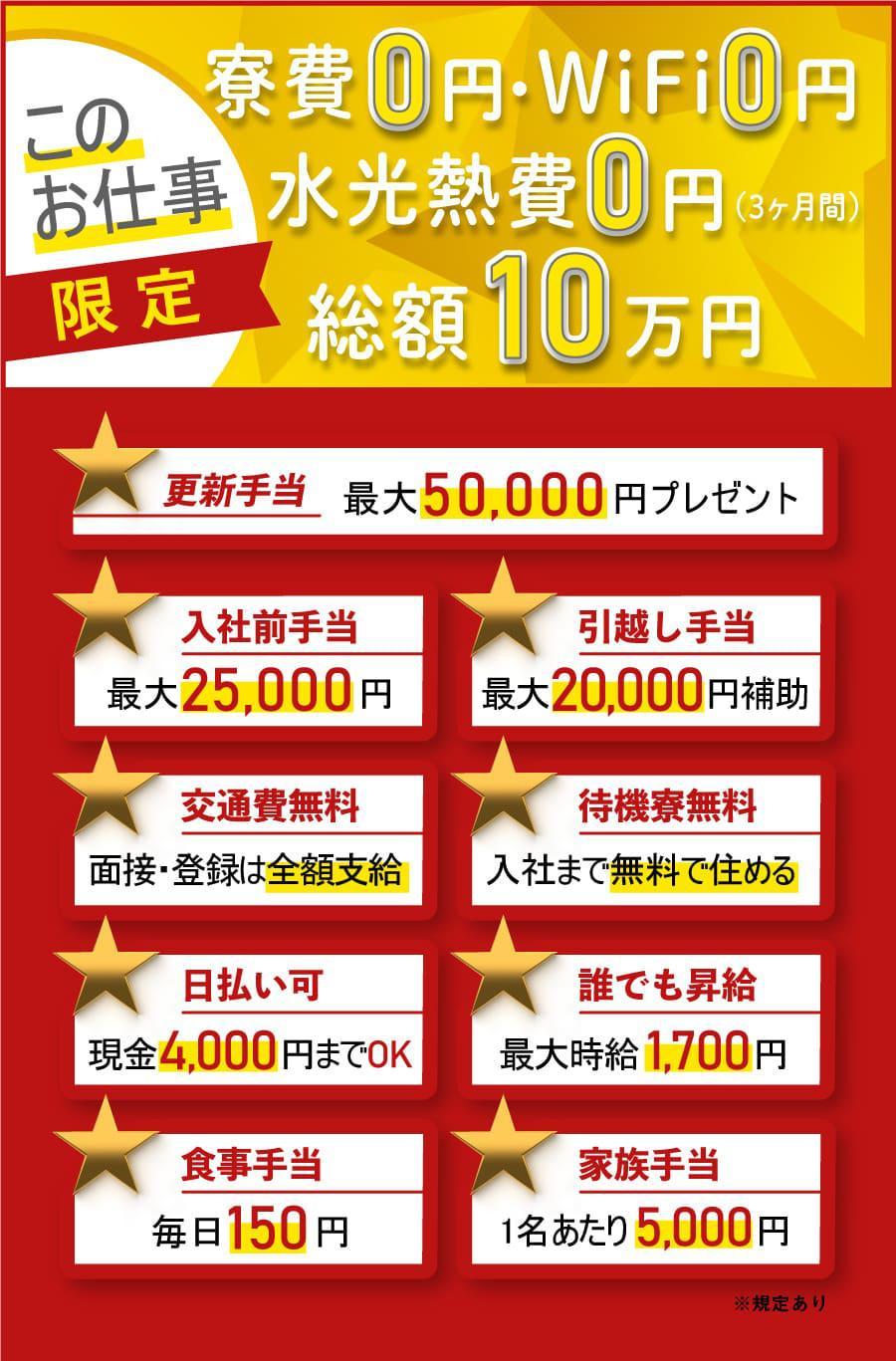 寮費0円 総額10万円プレゼント